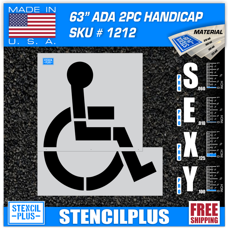 "63"" Handicap Parking Lot Pavement Marking Stencil"
