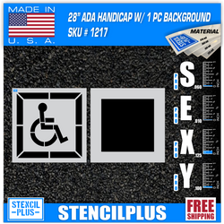 "28"" DOT Handicap w/ Square Background 2 pc Pavement Marking Stencil"