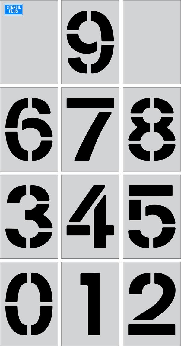 "36"" X 9"" Number Kit Parking Lot Pavement Marking Stencil"