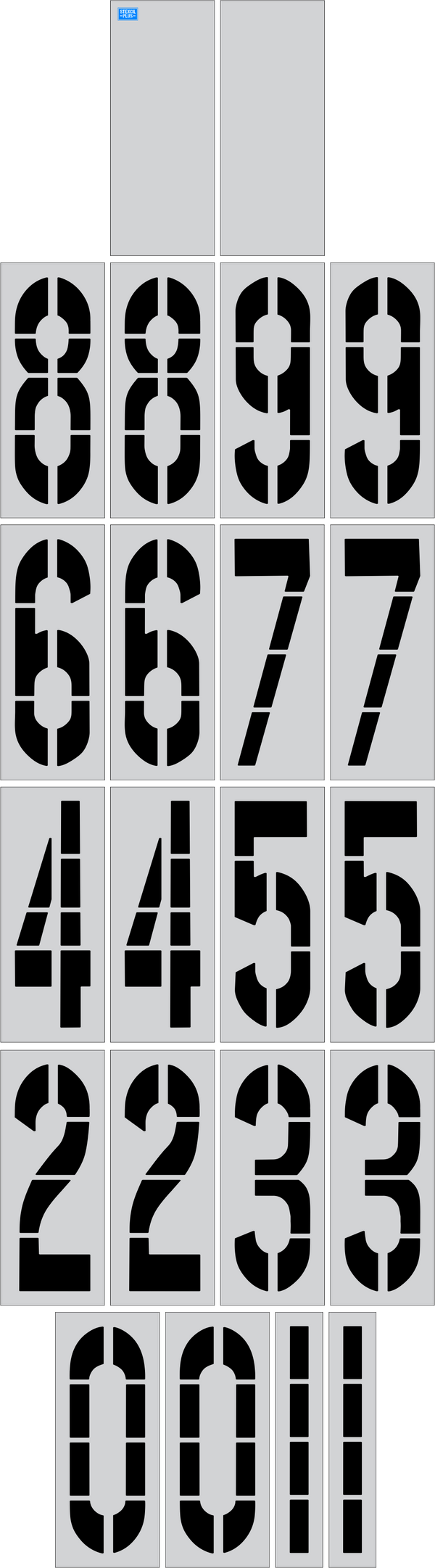 "48"" x 16"" Number Kit Parking Lot Pavement Marking Stencil"