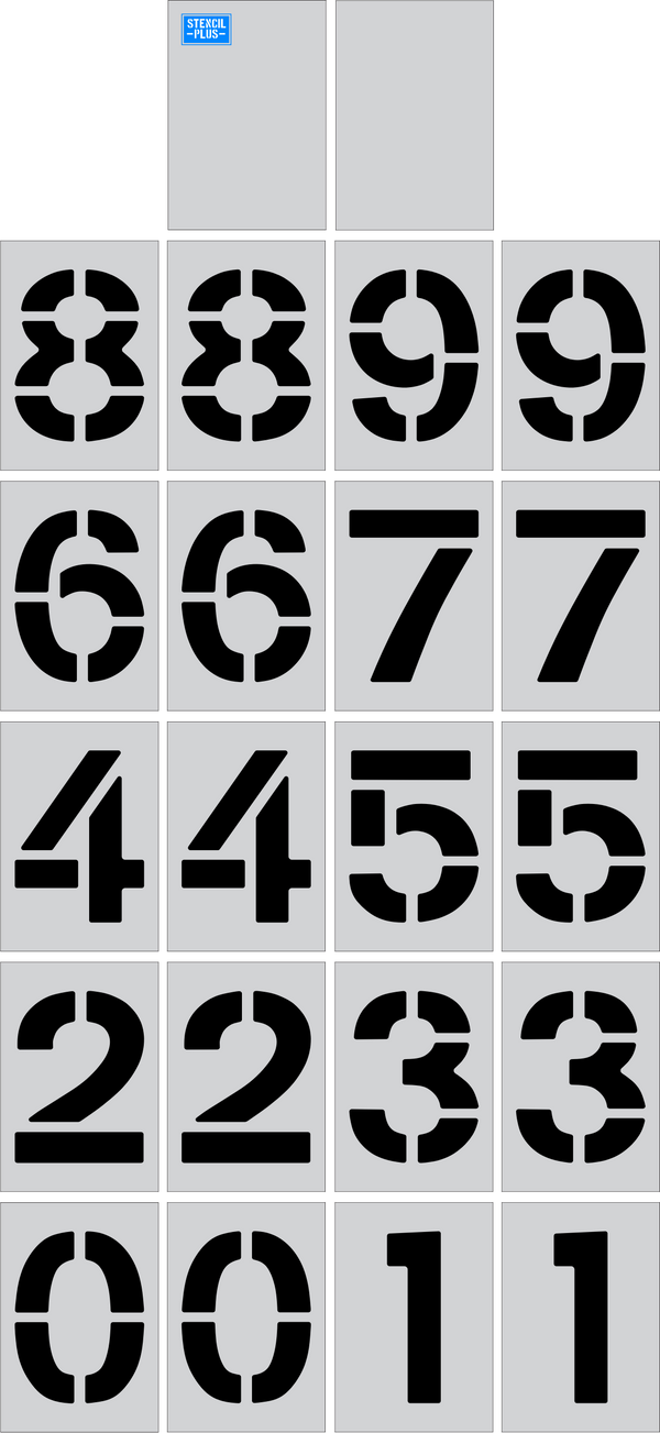"24"" X 12"" Number Kits Parking Lot Pavement Marking Stencil"