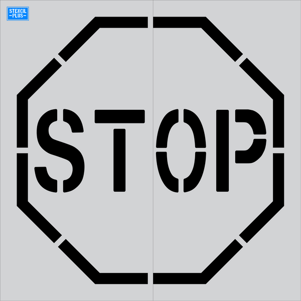 "48"" Stop Sign Symbol Misc Pavement Marking Parking Lot Pavement Marking Stencil"