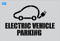 "EV#6 26"" Electric Vehicle- Car Made from Cord -Electric Vehicle Parking Parking Lot Pavement Marking Stencil"