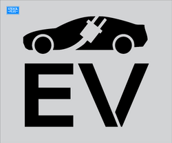 "EV#17 Electric Vehicle- 37"" Car with Cord through it and EV Parking Lot Pavement Marking Stencil"