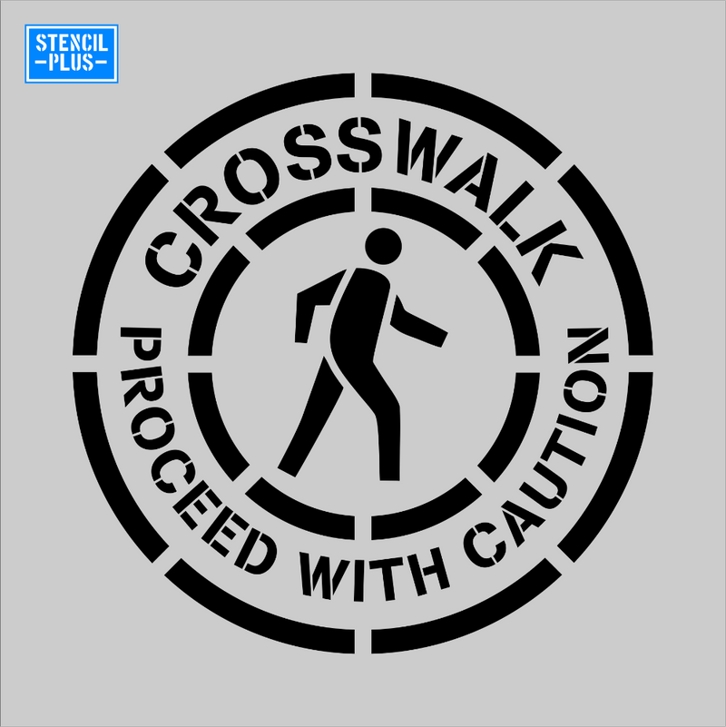 CROSSWALK PROCEED WITH CAUTION with Ped Symbol Safety Warehouse Industrial OSHA stencil