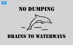 Storm Drain Stencil - No Dumping-Dolphin Image-Drains to Waterways