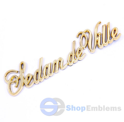 85-93 Cadillac Sedan Deville Gold Script Quarter Panel Emblem Badge Nameplate