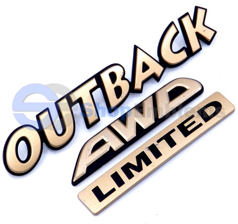 02 03 04 Subaru Outback Limited AWD Trunk Lid Nameplate OEM Badge Script Gold