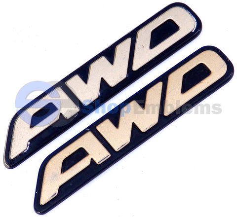 Subaru Legacy Outback Impreza AWD Emblem Trunk Gold Rear Nameplate OEM 2pc SET