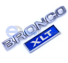 80-81 Ford Bronco XLT Fender Emblem OEM Vintage Metal Script Nameplate Badge