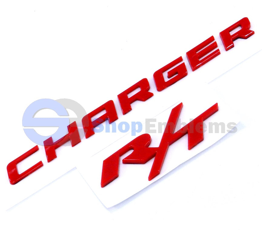 Dodge Charger R/T fender door trunk emblems nameplate badge 06 07 08 09 10 Red
