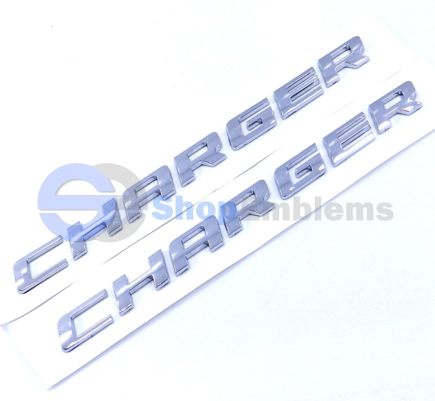 Dodge Charger R/T Silver script door trunk emblem 2pc letter 08-13 RT SXT 09 11