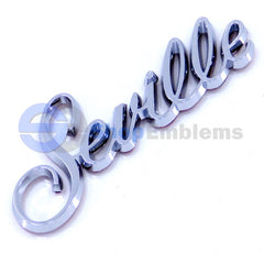 80-91 Cadillac Seville Script Emblem Nameplate Badge Rear Trunk Door Fender Silver