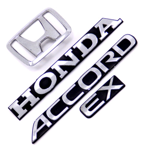 HONDA ACCORD EX 2DR 4DR OEM TRUNK EMBLEM SET 90 91 REAR ORNAMENT DECK LID LOGO