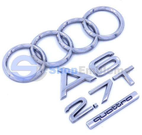 02 03 04 Audi A6 2.7T Trunk Emblem RIngs Nameplate Badge OEM Rear Genuine Quattro