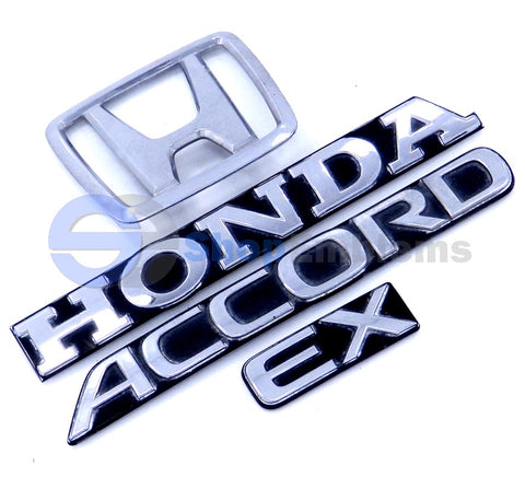Honda Accord EX 2DR 4DR OEM Trunk Emblem Set 90 91 Rear Ornament Deck Lid Logo OEM