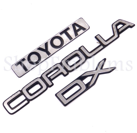 88 89 90 91 92 TOYOTA COROLLA DX TRUNK EMBLEMS 4DR REAR OEM DECAL NAMEPLATE BADGE