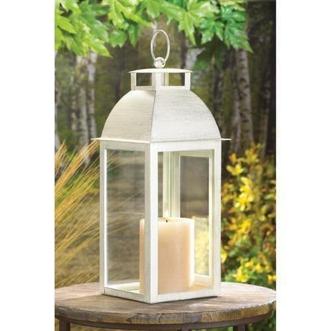 Distressed Ivory Candle Lantern - Handbags Specialist Headquarter