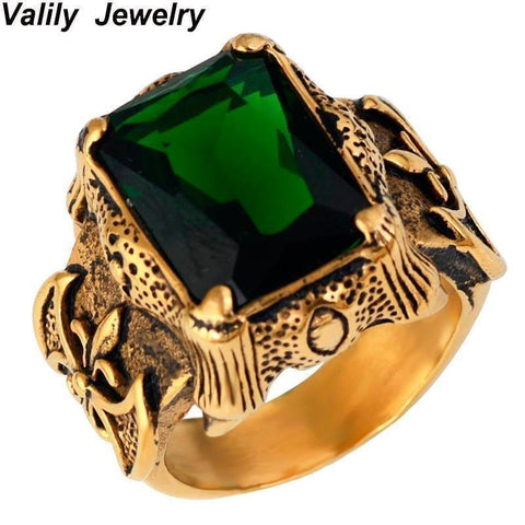 Men's Gold Color Vintage Gothic Dragon Claw Biker ring Band green CZ Crystal ,stainless steel cross finger ring - Handbags Specialist Headquarter