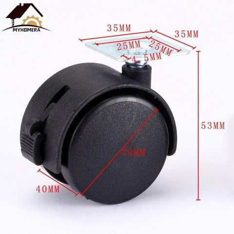 Myhomera 4Pcs Furniture Wheel Furniture Caster 40mm 48mm Plate with Brake Swivel Castor Wheels Replace Trolley Cart Roller Black - Handbags Specialist Headquarter