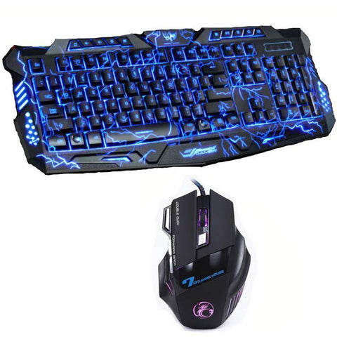 Red/Purple/Blue Backlight LED Pro Gaming Keyboard M200 USB Wired Powered Full N-Key 7 Buttons 5500 DPI Mouse Computer Peripheral - Handbags Specialist Headquarter