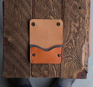 Two-Pocket Snap Wallet | Russet + Blue