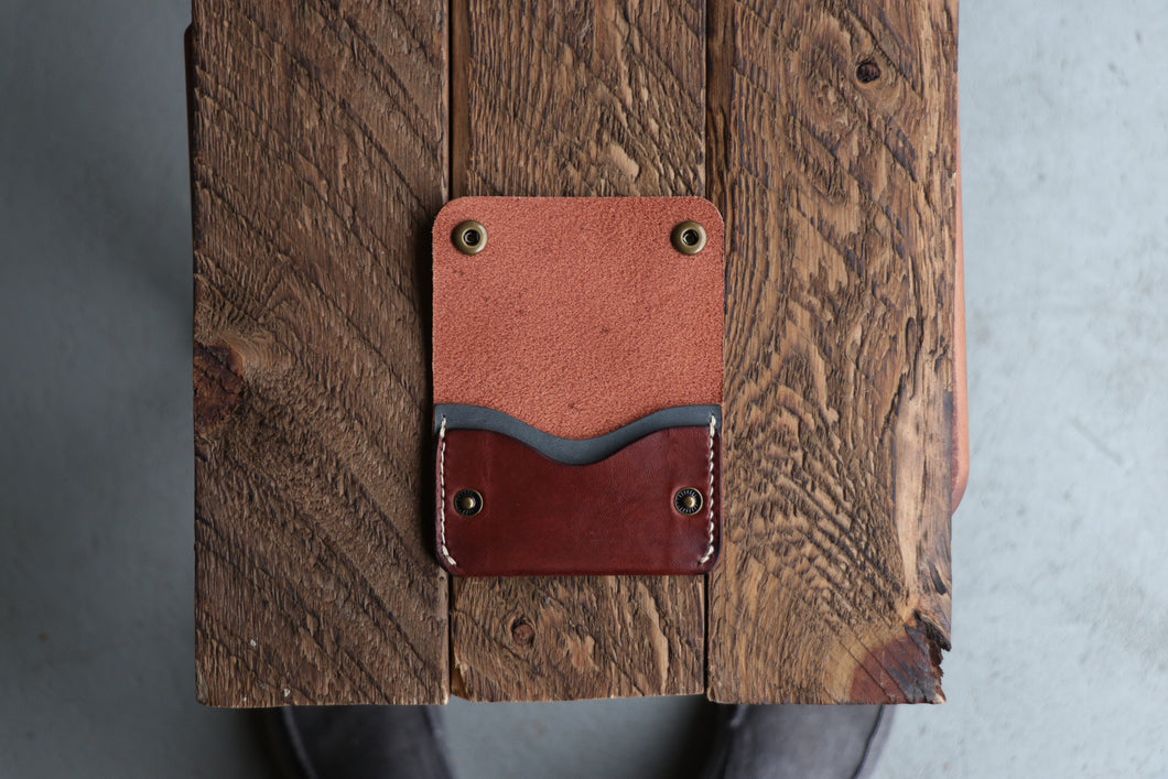 Two-Pocket Snap Wallet | Medium Brown + Blue