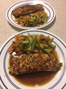 ALMOND CRUSTED SALMON IN SPICY HONEY GARLIC SAUCE