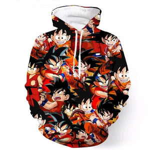 Dragon Ball Z Kid Goku Collage 3D Printed Pullover Hoodie