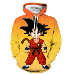 Dragon Ball Z Orange Kid Goku 3D Print Hooded Pullover Hoodie