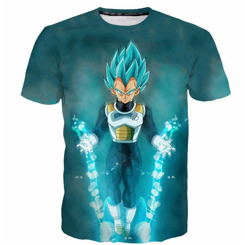 DBZ Clothing Blue Mystic Vegeta 3D Print T-shirt