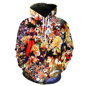 Dragon Ball Z Super Saiyan Collage 3D Printed Pullover Hoodie