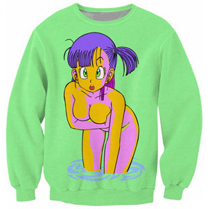Dragon Ball Z Green Bulma 3D Printed Pullover Sweatshirt