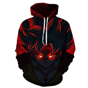 Dragon Ball Z Red Blk Goku 3D Printed Pullover Hoodie