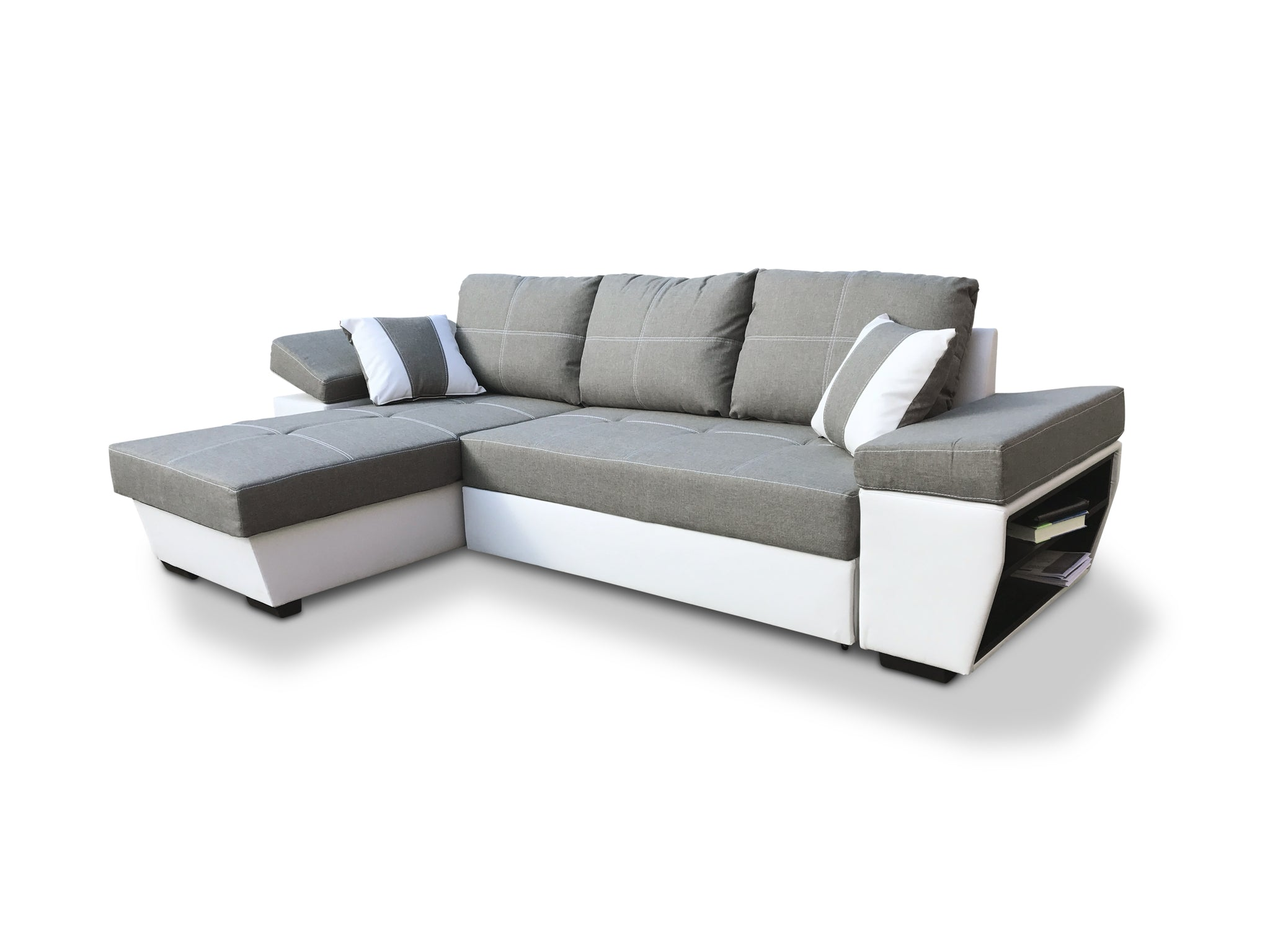 large grey side fabric left universal new right itm corner with s or bed storage ebay sofa