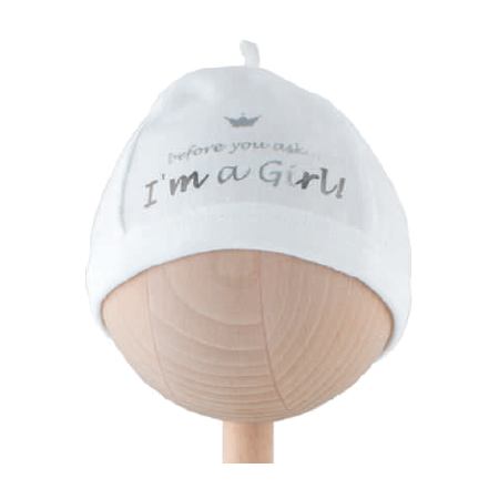 Baby Girl Cotton 'I'm a Girl' Newborn Hospital Hat