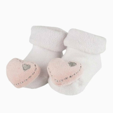 Baby Cotton 'Pink Heart' Rattle Socks