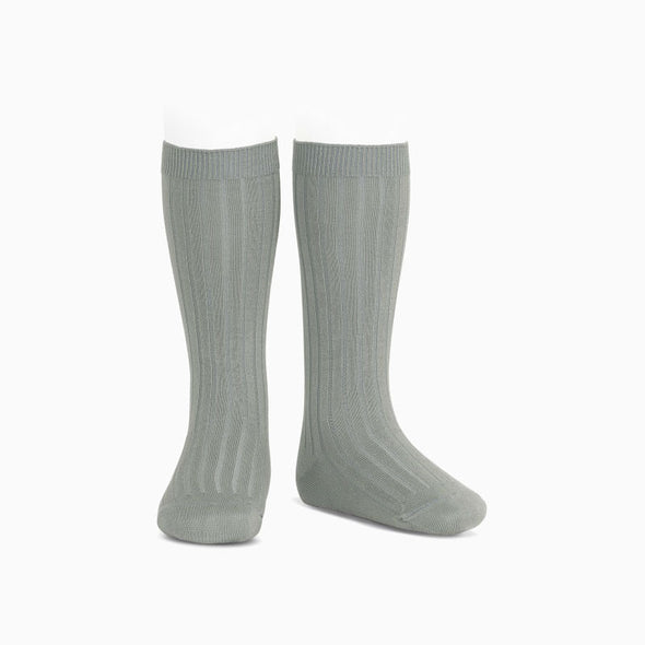 Misty Grey Ribbed Knee High Socks