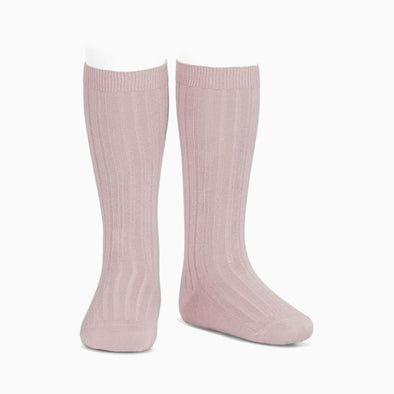 Pastel Pink Ribbed Knee High Socks