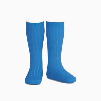 Electric Blue Ribbed Knee High Socks
