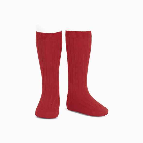 Red Ribbed Knee High Socks