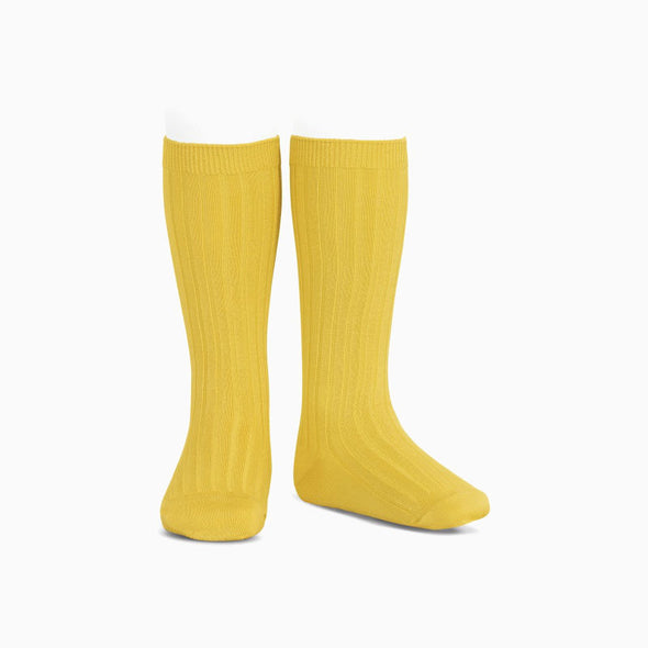 Sunny Yellow Ribbed Knee High Socks