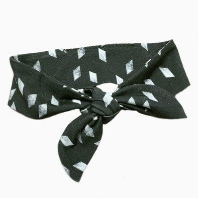 Organic Cotton Hand-sewn Rhomb Charcoal Headband