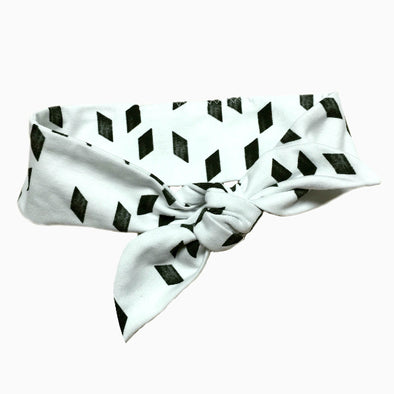 Organic Cotton Hand-sewn Rhomb White Headband