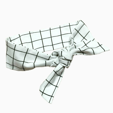 Organic Cotton Hand-sewn Grid White Headband