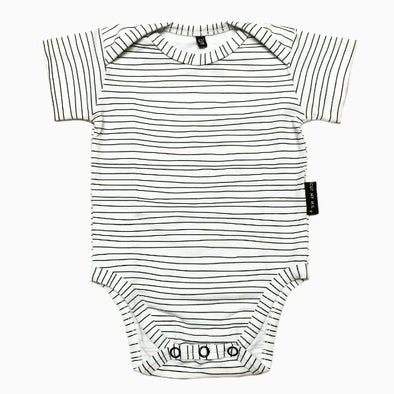 Baby Organic Cotton Hand-sewn White Striped Onesie