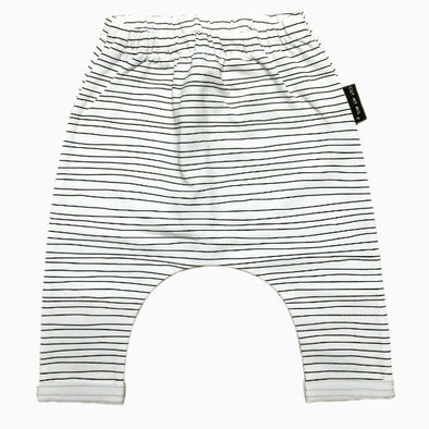 Organic Cotton Hand-sewn Striped White Harem Pants