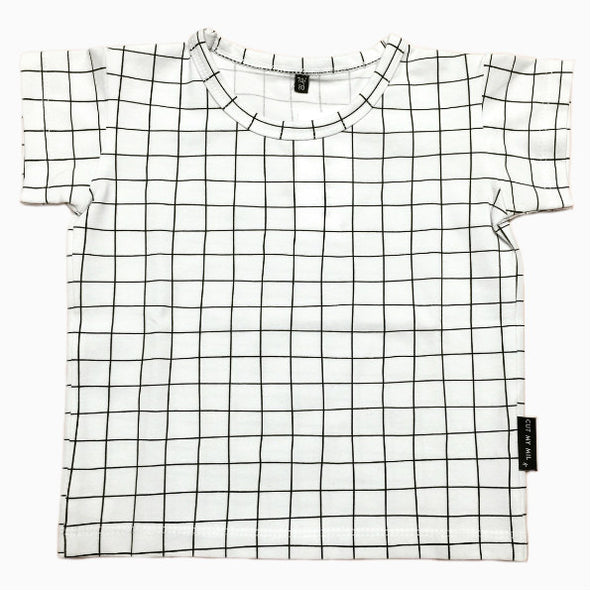 Organic Cotton Hand-sewn White Grid T-Shirt
