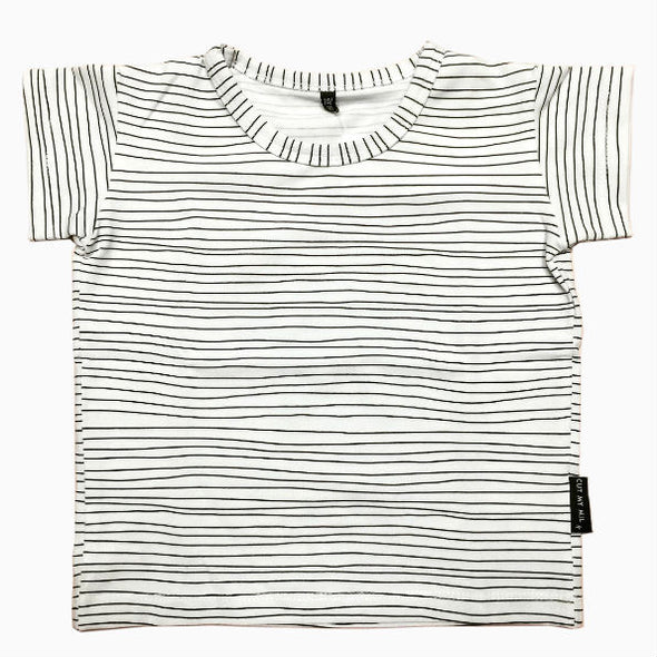 Organic Cotton Hand-sewn Striped White T-Shirt