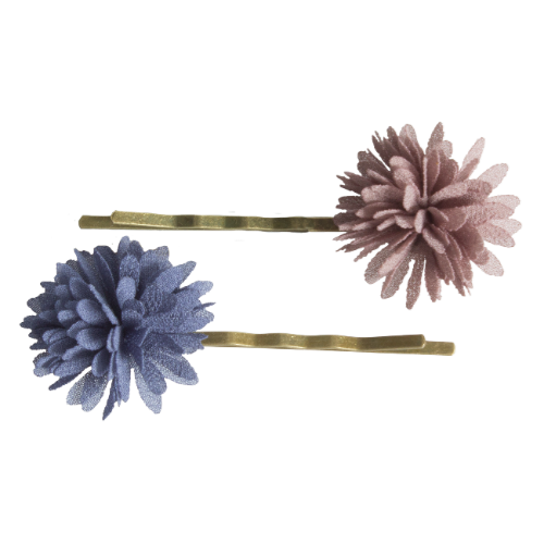 Chiffon Flower Denim Bobby Pins (2 pcs.)